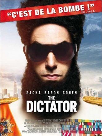 Affiche du film The Dictator de Larry Charles sur laquelle le dictateur interprété par Sacha Baron Cohen est face à l'objectif avec des lunettes de soleil.