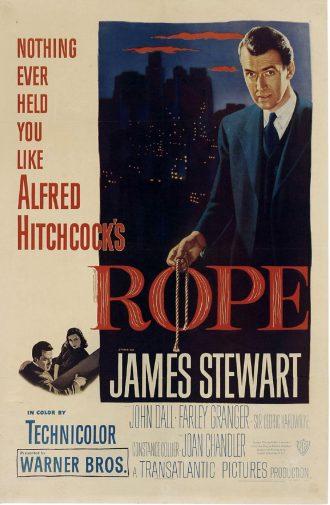 Affiche peinte du film La Corde d'Alfred Hitchcock sur laquelle James Stewart tient une corde en regardant vers le spectateur.