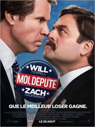 Affiche du film Moi, député sur laquelle les deux candidats politiques incarnés par Will Ferrell et Zach Galifianakis font un tête contre tête en costard.