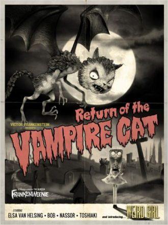 Affiche de Frankenweenie en hommage aux vielles affiches de la Hammer sur laquelle nous découvrons une chauve souris monstrueuse dans un cimetière.
