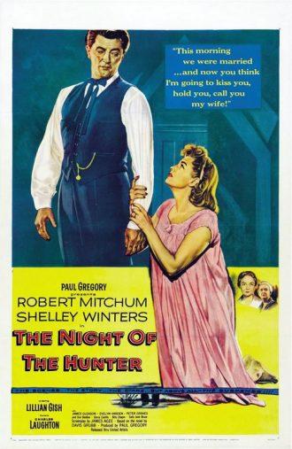 Affiche de La Nuit du Chasseur sur laquelle Shelley Winters s'agrippe au bras de Robert Mitchum qui la regarde sombrement de haut.