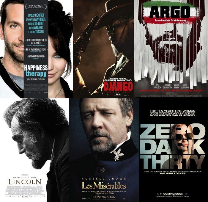 Montage des affiches de certains des nommés aux Golden Globes 2012 : Happiness Therapy, Django Unchained, Argo, Lincoln, Les Misérables et Zero Dark Thirty.