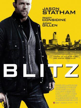 Affiche du film Blitz sur laquelle Jason Statham tient une arme et pose face à l'écran devant un fond jaune. On distingue la ville de Londres au second plan.