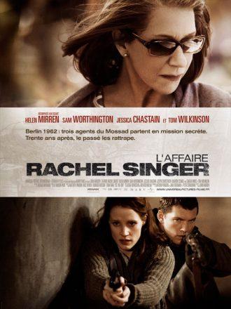 Affiche du film L'affaire Rachel Singer. Un portrait d'Helen Mirren est visible en haut de l'affiche. En bas, Jessica Chastain et Sam Worthington sont armés en bas de l'affiche et semblent être en pleine opération.