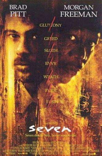 Affiche du film Seven sur laquelle nous distinguons les visages de Brad Pitt et Morgan Freeman devant un fond coloré, glauque et oppressant. La liste des péchés est écrite horizontalement et tous les péchés sont barrés.