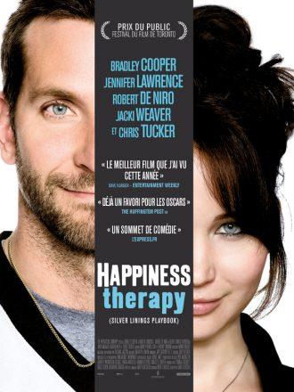 Affiche du film Happiness Therapy sur laquelle Bradley Cooper et Jennifer Lawrence sont face à l'objectif et sourient.