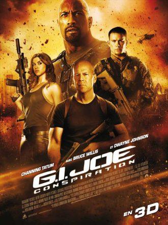 Affiche du film G.I. Joe Conspiration qui reprend tous les personnages principaux armés sur un montage photo explosif.