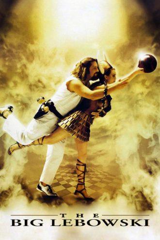 Affiche du film The Big Lebowski des frères Coen, sur laquelle Jeff Bridges et Julianne Moore, dans un décor évoquant le paradis, s'apprêtent à lancer une boule de bowling.