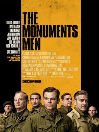 Affiche du film Monuments Men de George Clooney sur laquelle nous voyons tous les personnages masculins principaux en tenue de soldats.