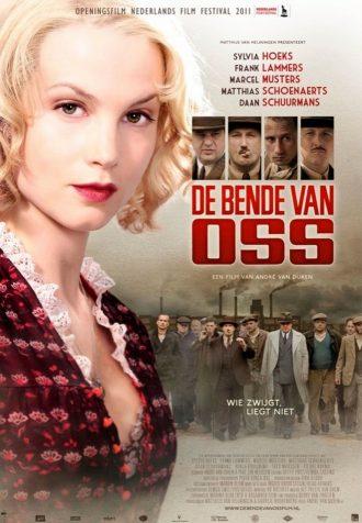 Poster du film The Gang d'André Van Duren. Nous y voyons le personnage principal incarné par Sylvia Hoeks devant une lignée d'autres personnages. On distingue également le portrait de quatre autres personnages.