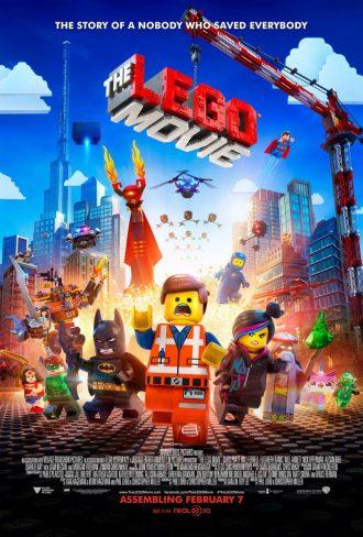 Affiche de La grande aventure Lego, sur laquelle nous voyons tous les principaux héros courir vers l'affiche, poursuivis par le grand méchant.