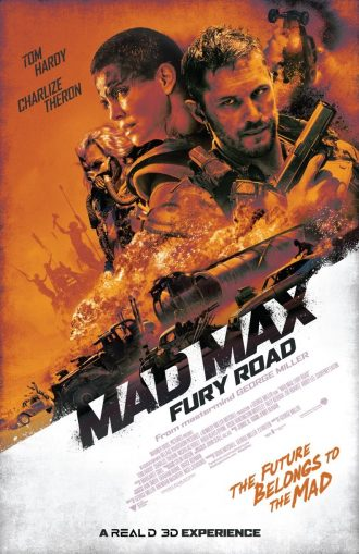 Affiche de Mad Max : Fury Road de George Miller qui reprend tous les personnages et éléments principaux du film dans une teinte orange.