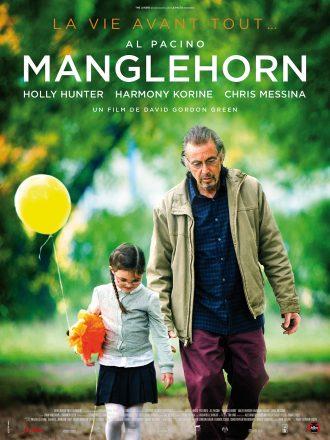 Affiche de Manglehorn de David Gordon Green. Nous y voyons Al Pacino marchant dans un parc avec sa petite fille qui tient un ballon et une peluche.