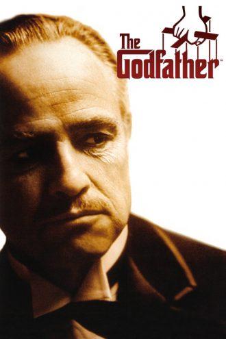 Affiche restaurée du Parrain de Francis Ford Coppola. Nous y voyons Marlon Brando de face devant un fond blanc.