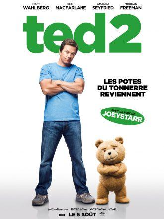Affiche du film Ted 2 de Seth MacFarlane. L'ourson et son meilleur ami incarné par Mark Wahlberg se tiennent face à l'objectif, les bras croisés et affichant un regard malicieux.