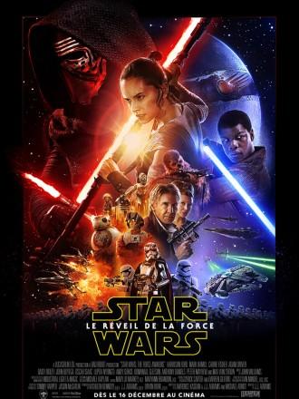 Poster de Star Wars : Le Réveil de la Force. Nous sommes dans le même esprit que les épisodes précédents, avec des couleurs similaires et une présentation de tous les personnages principaux. Luke Skywalker ne figure en revanche pas sur l'affiche.