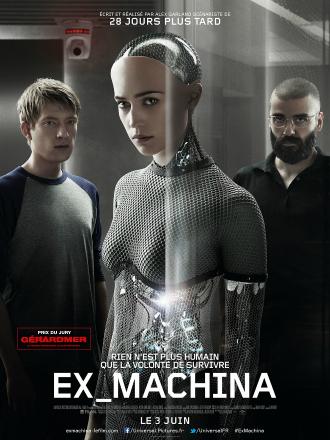 Poster d'Ex Machina réalisé par Alex Garland. Nous voyons au centre de l'affiche l'intelligence artificielle du film interprétée par Alicia Vikander, entourée par les personnages campés par Domhnall Gleeson et Oscar Isaac.