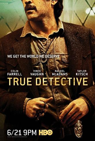 Poster de la saison 2 de True Detective. Nous y voyons l'un des héros interprété pr Colin Farrell brandir un poing américain.
