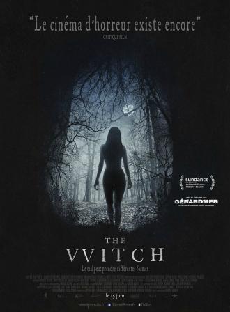 Affiche du film The Witch de Robert Eggers, sur laquelle nous voyons une femme nue dans une nuit de pleine lune en pleine forêt.