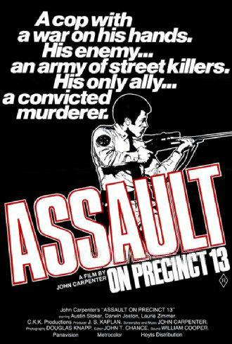 Affiche originale d'Assaut de John Carpenter sur laquelle Austin Stoker est dessiné tenant un fusil.