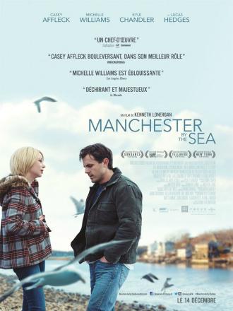 Affiche de Manchester by the Sea de Kenneth Lonergan sur laquelle Casey Affleck et Michelle Williams discutent au bord de la mer.