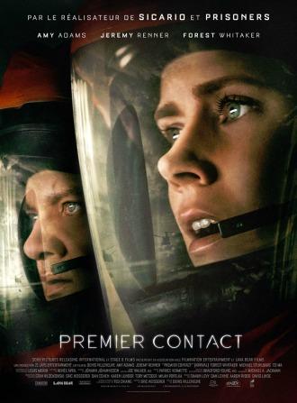 Photo de Premier Contact de Denis Villeneuve sur laquelle Amy Adams et Jeremy Renner sont en tenue de protection devant un vaisseau que l'on voit en reflet. Ils ont l'air extrêmement stupéfaits.