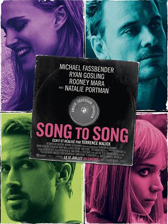 Affiche de Song To Song de Terrence Malick, où l'on découvre les portraits colorés de Natalie Portman, Michael Fassbender, Ryan Gosling et Rooney Mara.