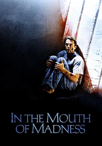 Affiche de L'Antre de la folie de John Carpenter, sur laquelle Sam Neill est reclus dans une chambre d'isolement, avec des croix dessinées dans chaque endroit de la pièce.