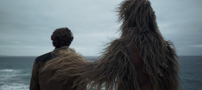 Photo tirée du film Solo : A Star Wars Story sur laquelle on voit Han Solo et Chewbacca observer l'horizon de dos. Chewbacca pose sa main sur l'épaule de Han Solo.