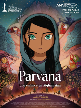 Affiche du film d'animation Parvana, une enfance en Afghanistan, sur laquelle on découvre le visage de l'héroïne entourée de nombreux dessins oniriques.