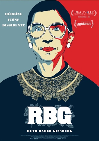 RBG : Affiche du documentaire sur laquelle on découvre un portrait façon pop art de Ruth Bader Ginsburg.