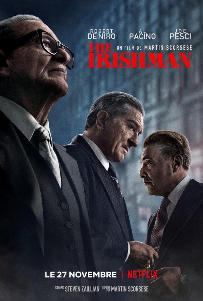 """Affiche de """"The Irishman"""" de Martin Scorsese, sur laquelle apparaissent les trois personnages principaux incarnés par Robert De Niro, Joe Pesci et Al Pacino."""