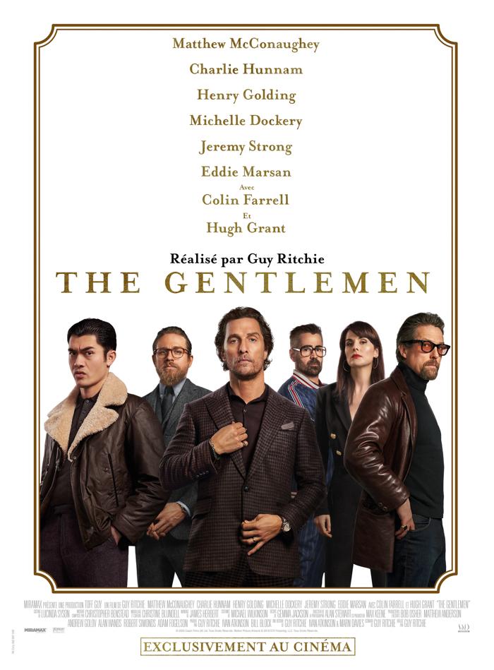 Affiche de The Gentlemen de Guy Ritchie, sur laquelle tous les personnages sont alignés devant un fond blanc.