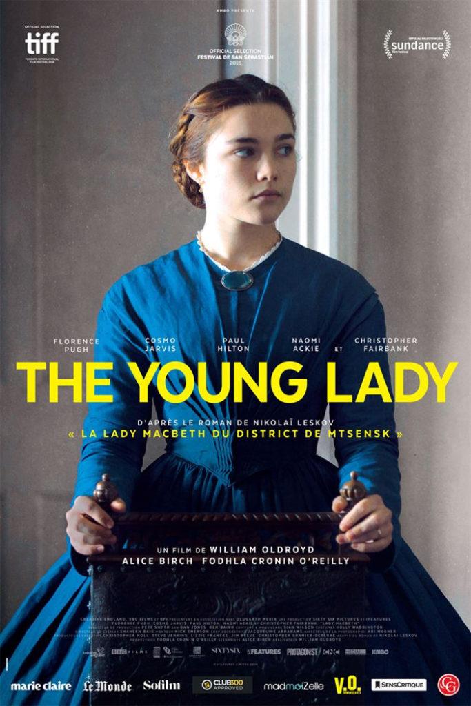 Affiche de The Young Lady, sur laquelle Florence Pugh est assise dans une robe d'époque et affiche un visage fermé.