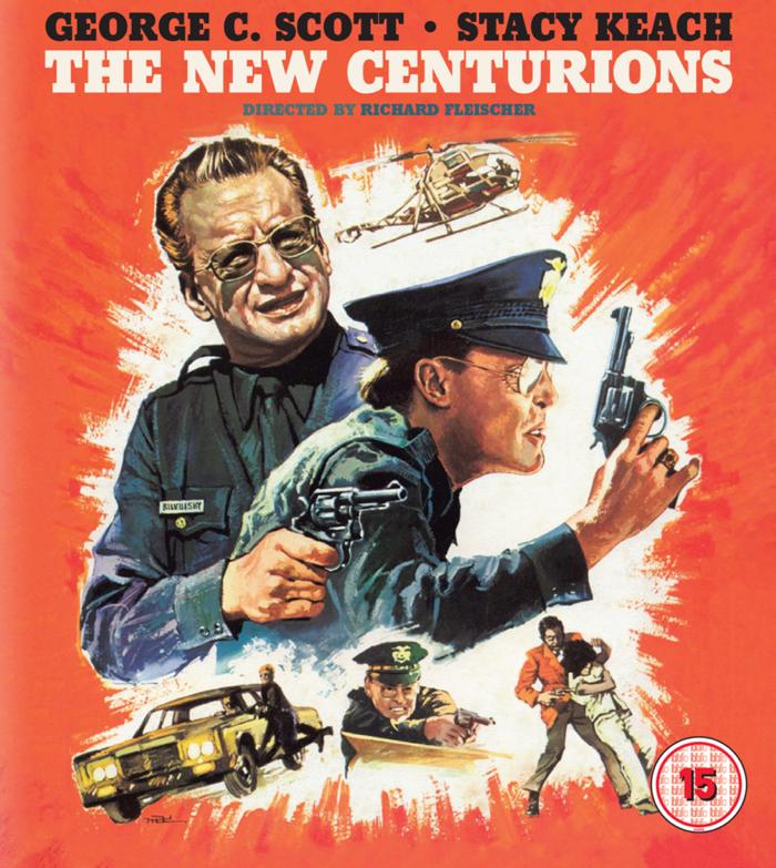"""Affiche peinte du film """"Les Flics ne dorment pas la nuit"""", sur laquelle on voit en action les deux policiers incarnés par George C. Scott et Stacy Keach."""